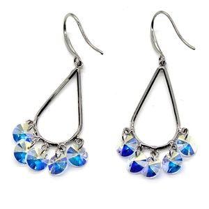 Silver sector drop swarovski crystal earrings